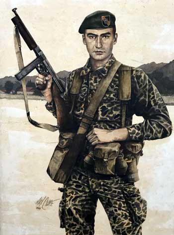 painting of soldier on patrol
