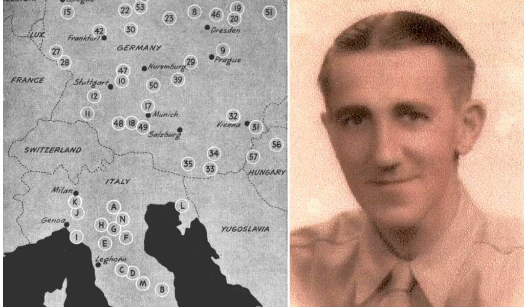 map of pow camps from wwii with picture of pow