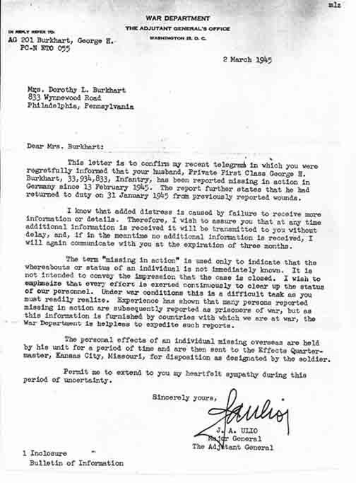 war department letter